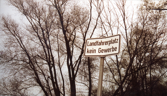 Alfred Ullrich, _Dachau, Landfahrerplatz kein Gewerbe_, 2011, traffic sign, photographic documentation, courtesy the artist